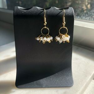 """Dangle earrings with white bead clusters 1"""" length"""